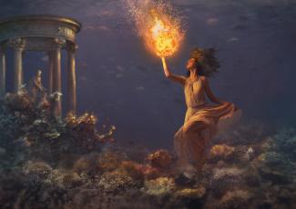 обоя фэнтези, магия, девушка, шар, фон