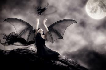 обоя фэнтези, демоны, крылья, фон, ворон, девушка
