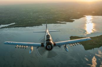 обоя авиация, авиационный пейзаж, креатив, skyraider, штурмовик, полет, скайрейдер, douglas