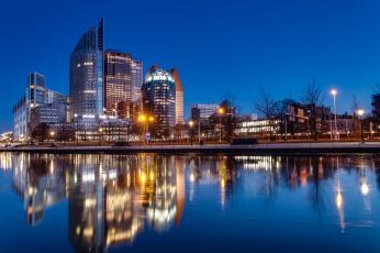 обоя города, - огни ночного города, ночной, город, гаага, отражается, в, воде, нидерланды