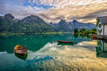 Картинка корабли лодки +шлюпки oppstrynsvatn lake norway норвегия горы hjelledalen озеро