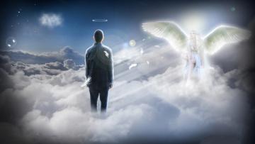 обоя фэнтези, фотоарт, крылья, нимб, облака, мужчина, девушка
