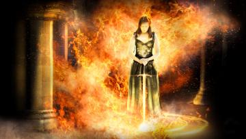 обоя фэнтези, фотоарт, пламя, фон, меч, девушка
