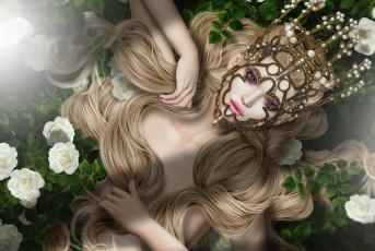 обоя 3д графика, портрет , portraits, девушка, украшение, блондинка, волосы, розы