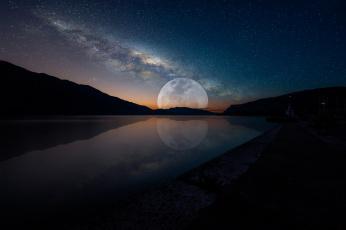 обоя космос, луна, ночь