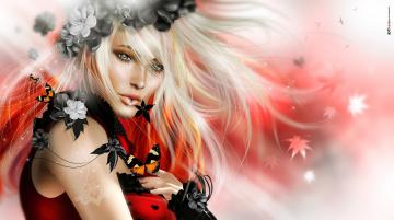 обоя 3д графика, портрет , portraits, венок, блондинка, бабочка, девушка