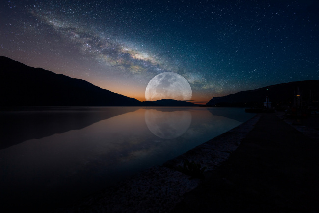 Обои картинки фото космос, луна, ночь