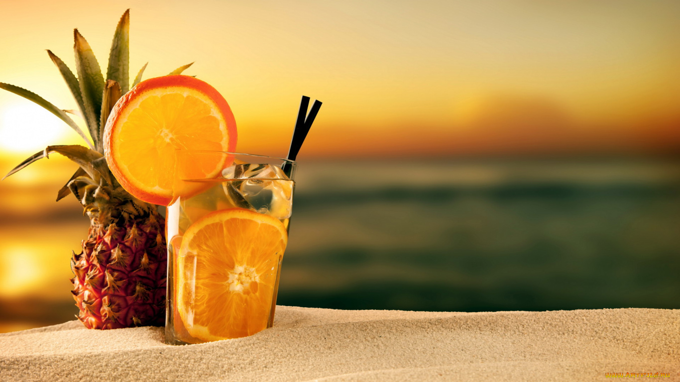 коктейль море закат ананас загрузить