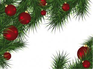 обоя праздничные, векторная графика , новый год, ветки, игрушки