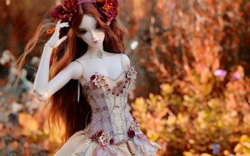 обоя разное, игрушки, цветы, игрушка, кукла, природа, платье, украшения
