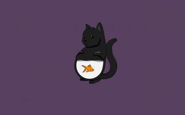 обоя рисованное, минимализм, fish, кот, рыба, cat, кошка