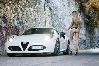 обоя автомобили, -авто с девушками, девушка, попка, alfa, romeo