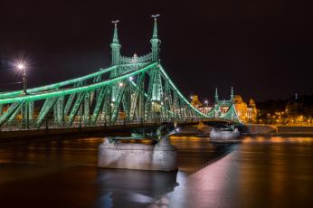 обоя города, - мосты, огни, мост, река, ночь