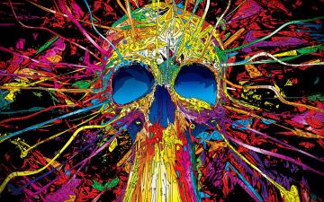 обоя векторная графика, другое , other, яркость, психоделика, череп