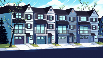 обоя векторная графика, город , city, окна, дом
