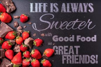 обоя еда, клубника,  земляника, надписи, шоколад