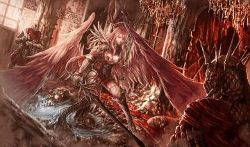 обоя фэнтези, ангелы, фон, мужчины, крылья, меч, девушка