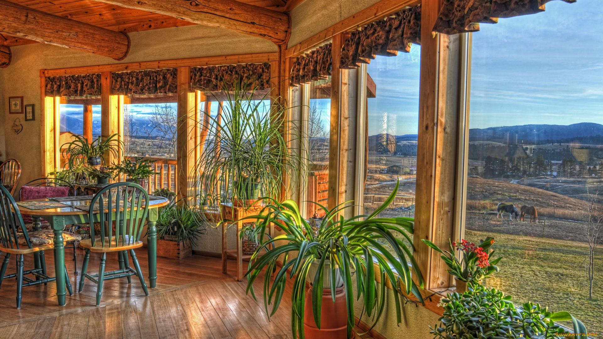 Скачать обои интерьер, веранды, террасы, балконы, окна, вазо.