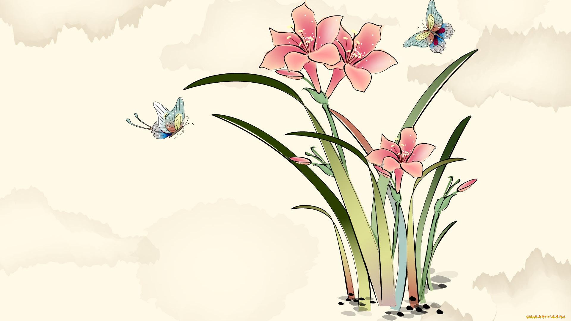 Нарисованный фон для открытки, поздравлением мартом