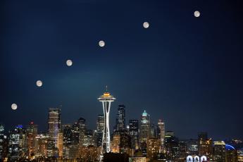 Картинка seattle super moon города сиэтл сша луна ночь огни город