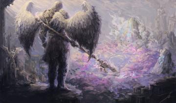 Картинка фэнтези ангелы лучи небо посох крылья ангел арт фантастика