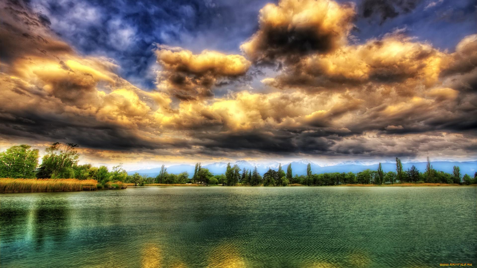 озеро облака проторы на телефон