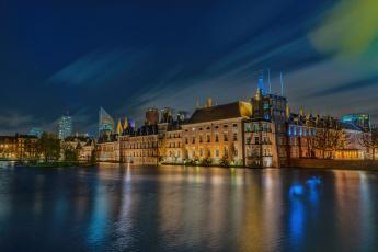 обоя binnenhof,  den haag,  netherland, города, - огни ночного города, огни, канал