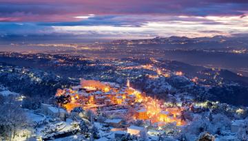 обоя аспремон, города, - огни ночного города, зима, снег, панорама, огни, город
