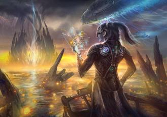 обоя фэнтези, маги,  волшебники, фон, существо, карта, мужчина, корабль