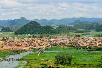 обоя города, - панорамы, дома, река, горы