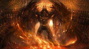 обоя фэнтези, демоны, демон, огонь, крылья