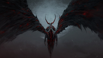 обоя фэнтези, демоны, туман, луна, огонь, рога, спина, демон, крылья