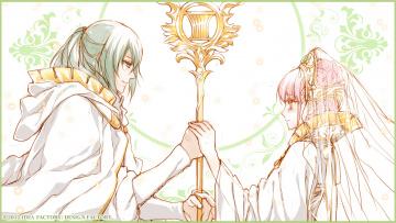 обоя аниме, wand of fortune, девушка, парень