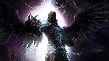 обоя фэнтези, демоны, крылья, капюшон, свет, когти, молнии