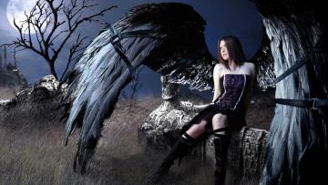 обоя фэнтези, фотоарт, девушка, крылья, ангел, ремни, ночь, развалины, луна