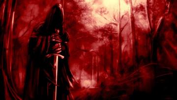 обоя фэнтези, нежить, меч, балахон, лес