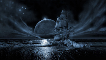 обоя летучий голландец, фэнтези, корабли, луна, ночь, море, корабль