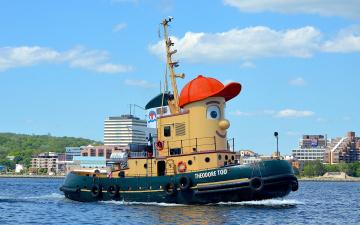 обоя корабли, баркасы ,  буксиры, кораблик, забавный