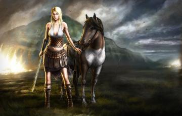 обоя фэнтези, девушки, лошадь, девушка, меч, воительница, тучи