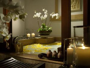 Картинка интерьер ванная+и+туалетная+комнаты орхидеи свечи