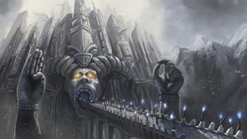 Картинка фэнтези замки огни мост горы замок пилигримы