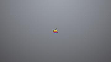 Картинка компьютеры apple радуга серый фон точки логотип яблоко