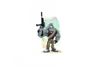 Картинка носорог рисованные минимализм рокстеди tmnt teenage mutant ninja turtles