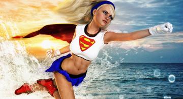 Картинка 3д+графика фантазия+ fantasy супермен фон взгляд девушка