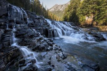 обоя природа, водопады, камни, лес, горы, поток