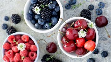 обоя еда, фрукты,  ягоды, малина, черешня, ягоды, ежевика, черника