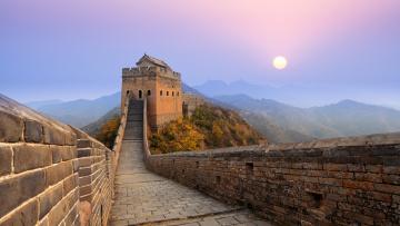обоя города, - исторические,  архитектурные памятники, восход, горы, великая, китайская, стена
