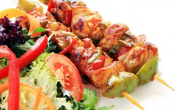 обоя еда, шашлык,  барбекю, мясо, овощи, салат