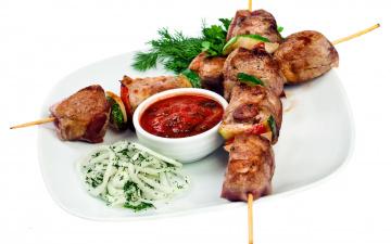 обоя еда, шашлык,  барбекю, мясо, соус, укроп, зелень, салат