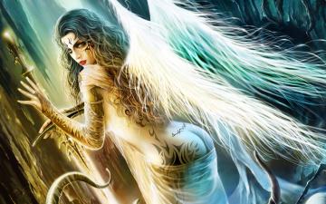 Картинка фэнтези ангелы девушка ангел крылья татуировки меч слизь щупальца